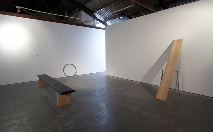 Katie Lee, Making Sense 2008, steel, timber, vinyl, single channel video