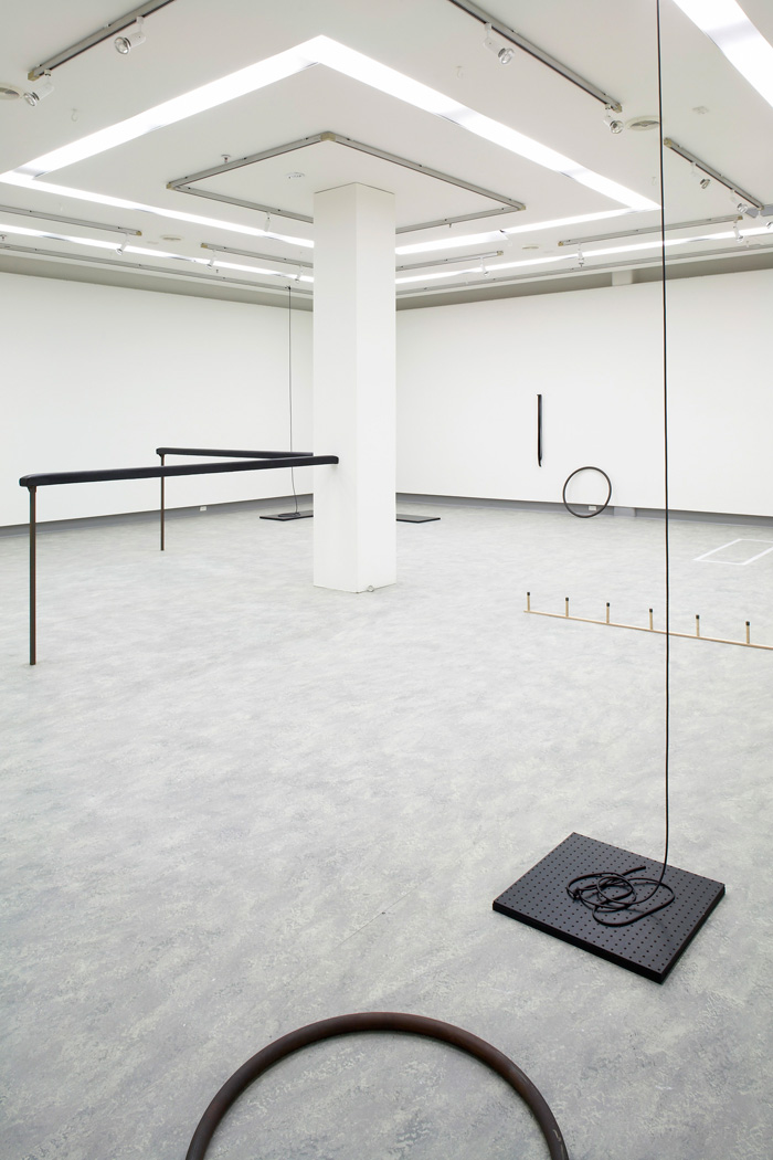 Katie Lee, Drawing Boundaries Walking Lines 2009, rubber, steel, timber, vinyl